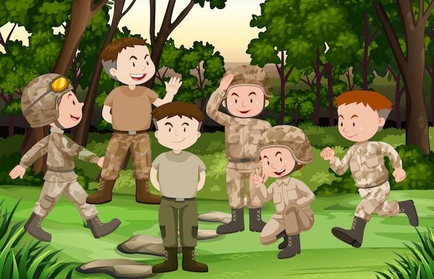 Grupa żołnierzy w lesie