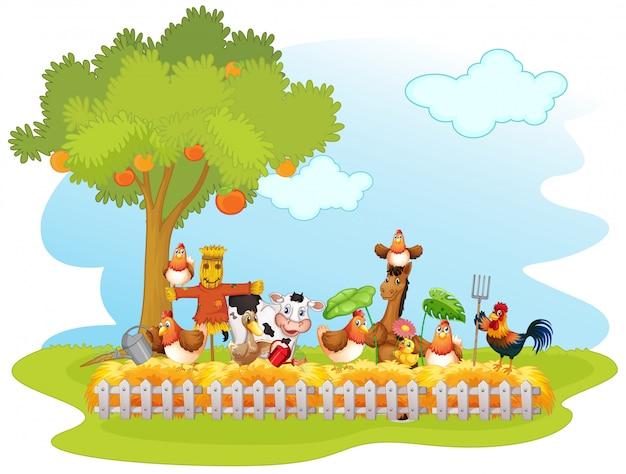 Grupa zwierząt domowych w gospodarstwie na białym tle