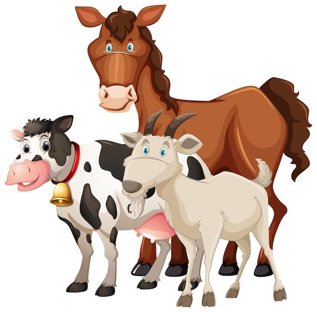 Grupa zwierząt gospodarskich konia, krowy i owiec na białym tle
