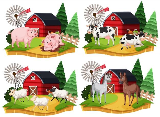 Grupa zwierząt gospodarskich postać z kreskówki na białym tle