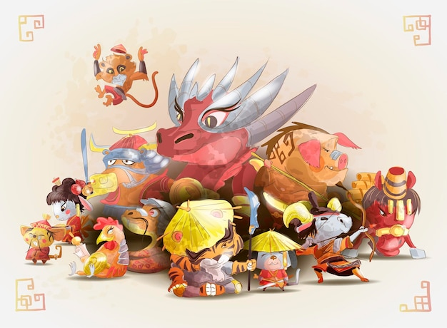Grupa zwierząt zodiaku chińskiego w stylu kreskówka na białym tle