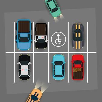 Grupę samochodów i wyłącz miejsce na scenie strefy parkowania