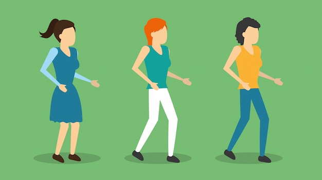 Grupowe kobiety stojące postacie, płaski