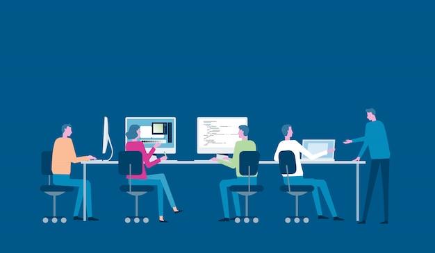 Grupowe spotkanie zespołu biznesowego i burza mózgów dla koncepcji pracy