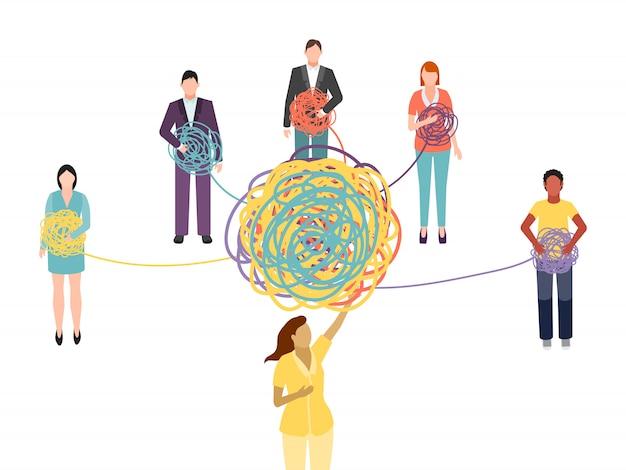 Grupowe wsparcie psychoterapii. psychoterapeuta grupowy psycholog lekarz pomaga rozwiązać plątaninę problemów