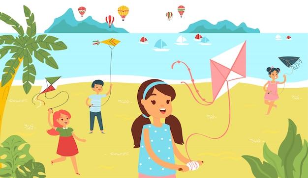 Grupowi dzieci biega plażę z kanią, radośnie charakteru dzieciaka czas wydaje kreskówki ilustrację. żeńska męska dziecko zabawa relaksuje tropikalną plażę.