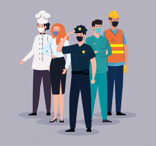 Grupowi pracownicy jest ubranym medyczną maskę przeciw pandemii