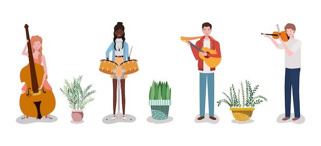 Grupowy zespół muzyczny grający na instrumentach i roślinach doniczkowych