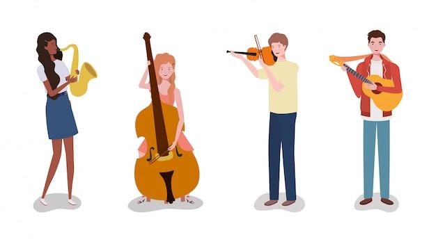Grupowy zespół muzyczny grający na instrumentach