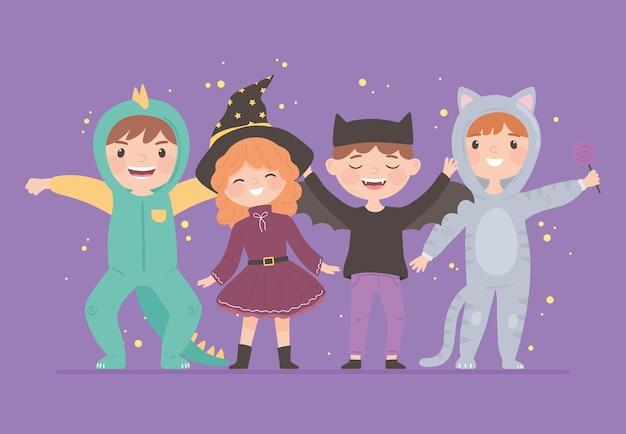 Grupuj dzieci z kostiumami