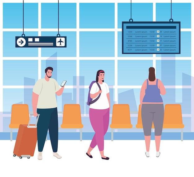 Grupuj ludzi na terminalu lotniska, pasażerów na terminalu lotniska z bagażami