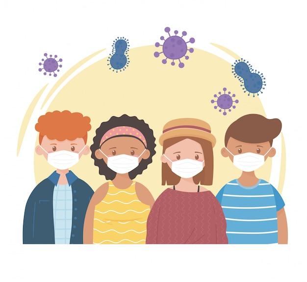 Grupuj młodych ludzi z maskami ochronnymi, pandemią koronawirusa covid 19