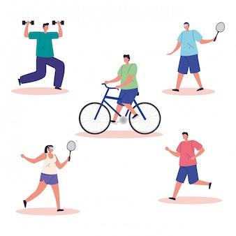 Grupuj osoby ćwiczące postacie awatarów ćwiczeń