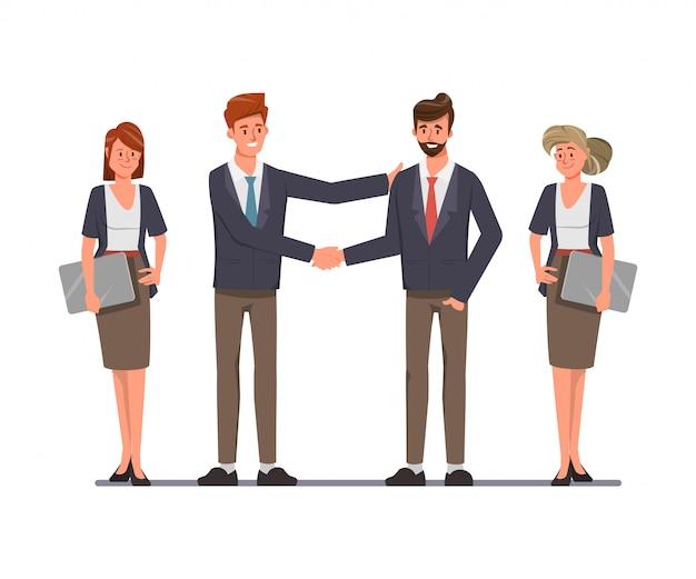 Grupy biznesowej ludzie pracy zespołowej na transakcjach i drżenie rąk koncepcji. ilustracja wektora płaska konstrukcja.