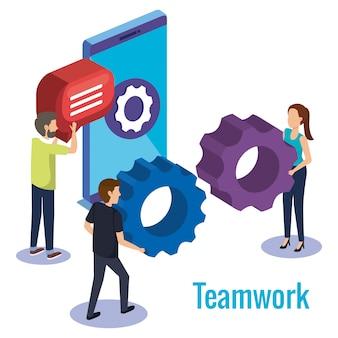 Grupy ludzi praca zespołowa z smartphone