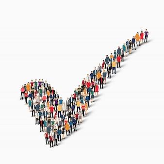 Grupy osób tworzą znacznik wyboru
