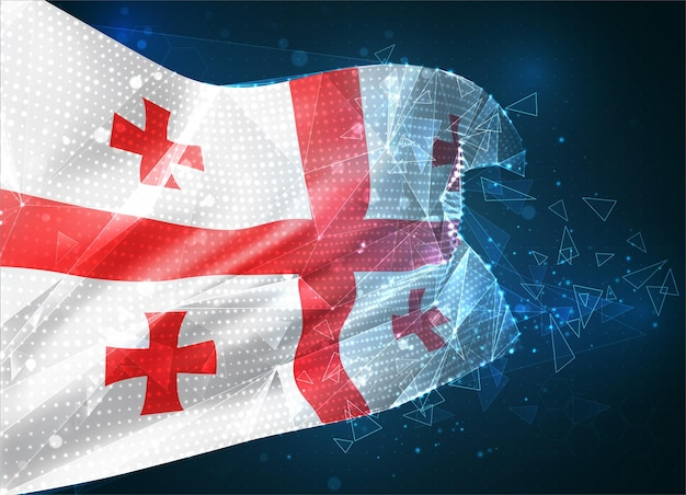 Gruzja, flaga wektorowa, wirtualny abstrakcyjny obiekt 3d z trójkątnych wielokątów na niebieskim tle