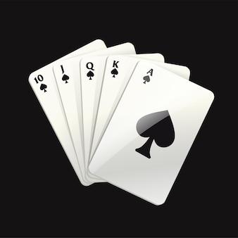 Gry czarne karty - nowoczesne wektor realistyczne na białym tle clipart ilustracja na czarnym tle. poker królewski w pikach. kasyno, hazard, szczęście, koncepcja fortuny