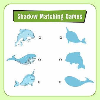 Gry dopasowywanie cieni zwierzęta dolphin narwhal whale