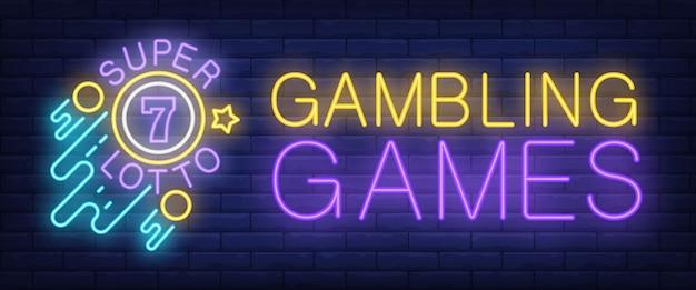 Gry hazardowe, neon znak super lotto