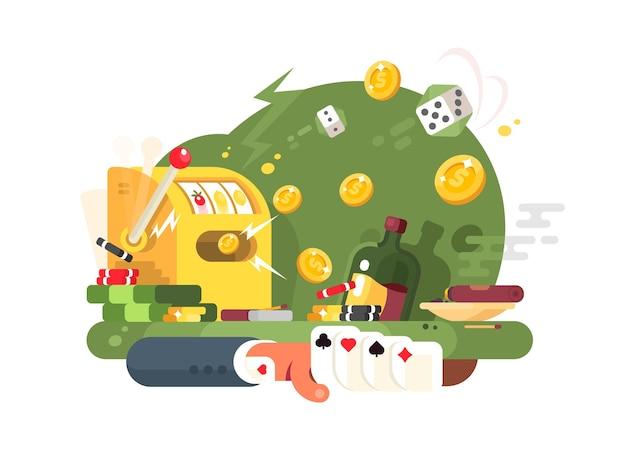 Gry hazardowe w kasynie. karty do gry, kości i maszyny. ilustracja wektorowa