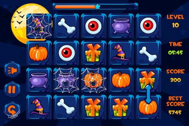 Gry interfejsowe, ikony i przyciski w stylu halloween