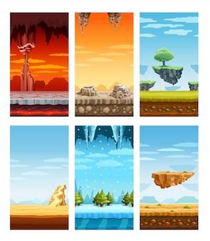 Gry komputerowe kolorowe elementy cartoon set