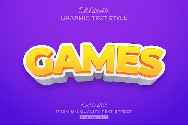Gry kreskówkowe edytowalny efekt stylu tekstu 3d