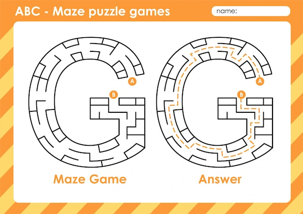 Gry logiczne maze - zestaw gier dla dzieci alfabet od a do z list: g