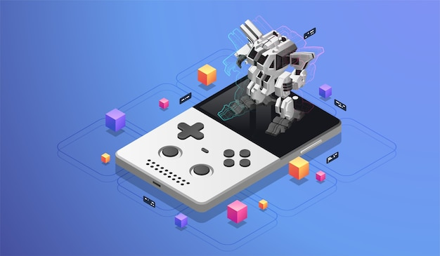 Gry mobilne. duży robot na ekranie konsoli kieszonkowej. koncepcja ar dla rozwoju mobilnego. nowoczesna ilustracja izometryczna.