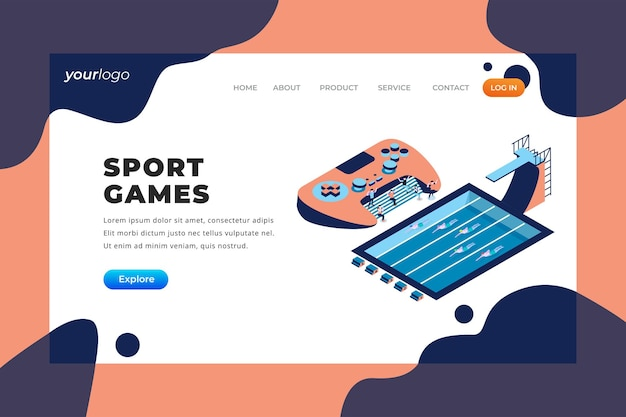 Gry sportowe — strona docelowa wektorowa