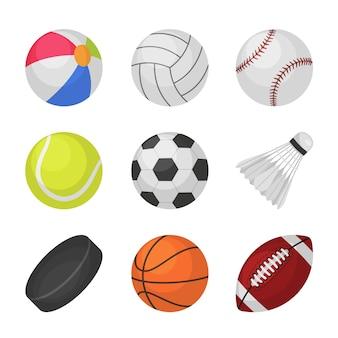 Gry w piłkę. sport dla dzieci piłka siatkówka baseball tenis piłka nożna piłka nożna bambinton hokej koszykówka rugby piłki