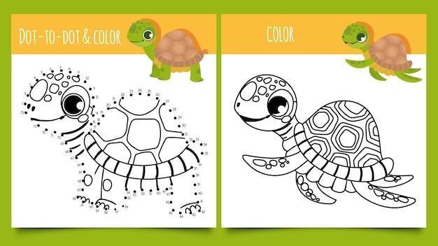 Gry z żółwiami. kropka po kropce i kolorowanie gra z ilustracji wektorowych słodkie żółwie. śmieszne szczęśliwe żółwie rysowane liniami konturowymi. puzzle lub zagadka dla dzieci z gadami wodnymi i lądowymi.