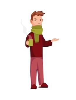 Grypa. leczenie grypy lub przeziębienia w domu. człowiek z filiżanką w ręku. alergia sezonowa.