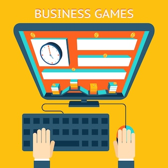 Grywalizacja biznesowa. zarabianie pieniędzy jako gra. konkurencja i cel, poziom i moneta. ilustracji wektorowych