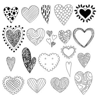Gryzmoły serca. symbole walentynki szkic miłość kolekcja ikon piękna ozdobny stylizowane serca. ilustracja kształt szkicu dekoracji serca