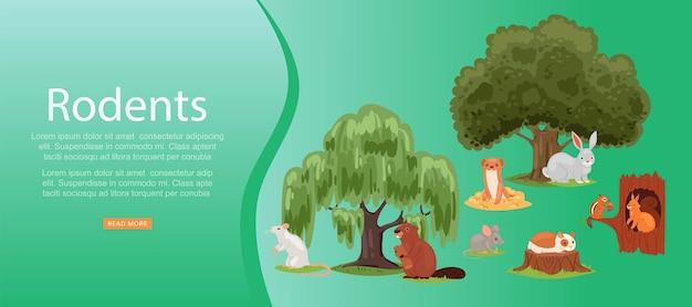 Gryzonie napis na jasny, zestaw słodkie zwierzę, ssak, małe śmieszne zwierzaki, ilustracja. las, gryzonie stepowe i wodne w przyrodzie, siedlisko naturalne, zielone drzewa.