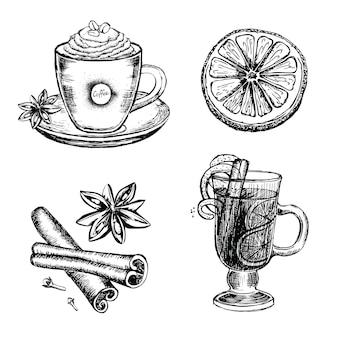 Grzane wino kawa cynamon cytryna ręcznie rysowane ilustracja vector