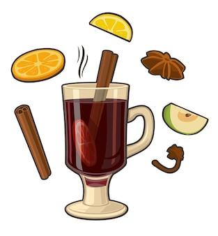 Grzane wino z szklanym napojem i składnikami płaska ilustracja wektorowa