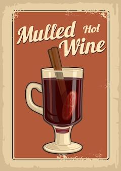 Grzane wino ze szklanką napoju i składników wektor stary papier tekstura tło