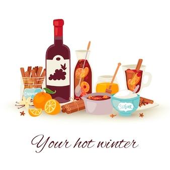 Grzane wino zima, gorąca napój wektoru ilustracja. koktajl z grzanego wina z przyprawami anyżowymi, owocami cytrusowymi i cynamonowym napojem na ferie zimowe. alkohol kieliszek do wina i butelka.