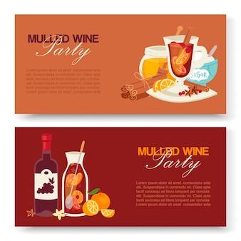 Grzane wino zimowy napój banery.