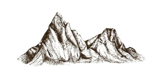 Grzbiet górski lub zakres ręcznie rysowane z konturami na białym tle. elegancki vintage rysunek skalistego klifu, szczytu lub naturalnej ulgi. ilustracja wektorowa monochromatyczne w stylu retro grawerowanie.