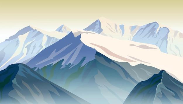 Grzbiety górskie. ilustracja wektorowa wschodu słońca.