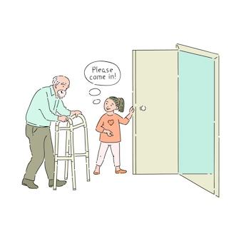 Grzeczny dzieciak otwiera drzwi starszemu mężczyźnie
