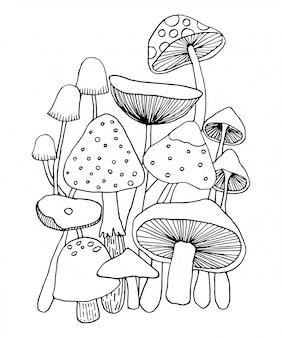 Grzyb doodles wektor dla kolorowanka.