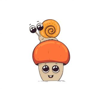 Grzyb kreskówka ze ślimakiem