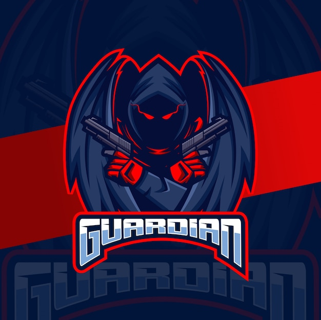 Guardian assassin angel maskotka e-logo projektowanie logo
