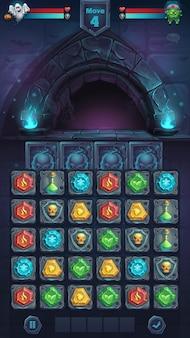 Gui bitwy potwora otworzyło drzwi pole gry mecz 3 - kreskówka stylizowana ilustracja wektorowa okno formatu mobilnego z przyciskami opcji, elementy gry.