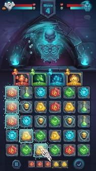 Gui bitwy potworów z upiornym szkieletowym polem gry dopasuj 3 - stylizowane okno z kreskówkową ilustracją wektorową w formacie mobilnym z przyciskami opcji, elementy gry